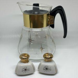 Vintage Corning Ware Atomic Starburst Carafe Set